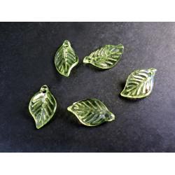 5x hellgrünes Acryl Blatt ca. 18x11mm transparent Schmuckanhänger - Acryl Schmuckzubehör