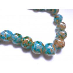 5 türkis orange Opal Glasperlen 12mm bunte Glasperlen - Schmuckzubehör