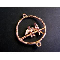 1x rose gold Anhänger Vögel ca. 34x27mm rose gold Schmuckverbinder - rose gold Schmuckzubehör
