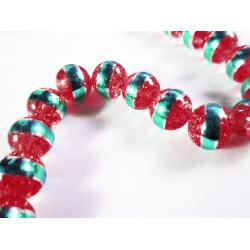 5 rote Crackle Glasperlen 8mm mit türkis Streifen Glasperlen - Schmuckzubehör