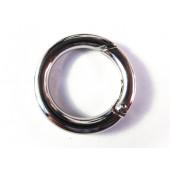 1x runder Ringverschluss ca. 25x4mm silberfarben grosser Karabinerhaken - Schmuckzubehör