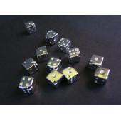 Hellsilberfarbene 6x6mm Würfel Metallperlen diagonal Würfelperlen Spacer - Schmuckzubehör Metallperle