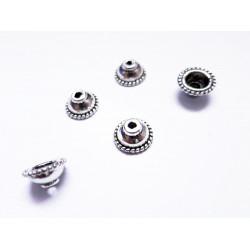 5x silber Perlenkappen ca. 10x10x5mm silberfarbene glatte Perlen Kappen - Schmuckzubehör Perlenkappe