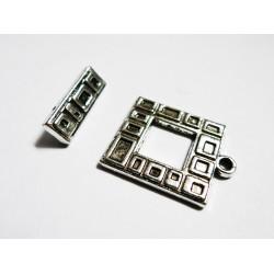 1x Quadrat Knebelverschluss silberfarben Ringteil 22x18mm Toggle - Schmuckubehör Schmuckverschluss
