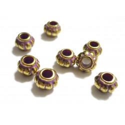 8x lila gold Acryl Perlen 8x6mm Kürbisform Grosslochperle - Acryl Schmuckzubehör