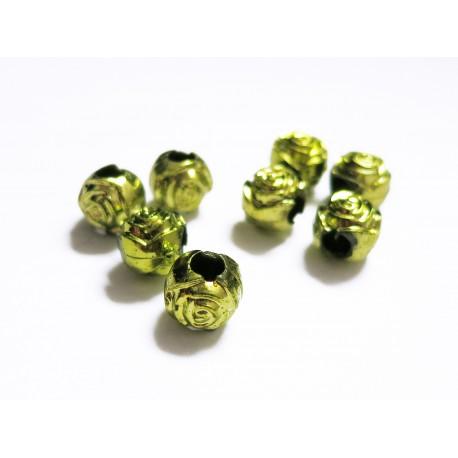 8x grün metallic Acryl Perlen 8mm Rosenform Grosslochperle - Acryl Schmuckzubehör