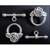 2x Knebelverschluss Toggle Rose silberfarben Ringteil 16x18 mm