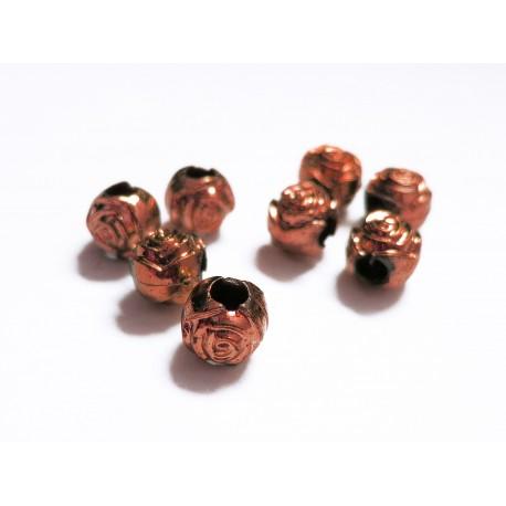 8x braun metallic Acryl Perlen 8mm Rosenform Grosslochperle - Acryl Schmuckzubehör