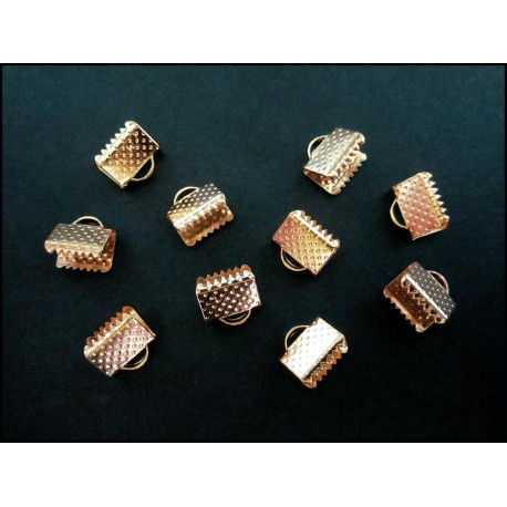 10x KC Gold Bandklemme 8mm KC Goldfarben - rose gold Schmuckzubehör