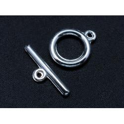 1x schlichter silber Knebelverschluss Ringteil Durchmesser 15mm Toggle silberfarben - Schmuckzubehör Schmuckverschluss