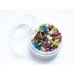 15g bunter Perlenmix aus Rocailles und Stiftperlen als Mix im Döschen - Schmuckzubehör Rocailles