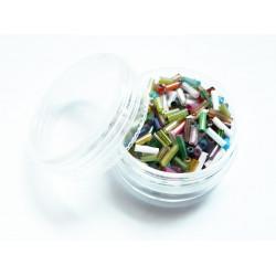 15g bunter Perlenmix aus Stiftperlen mit AB-Effekt als Mix im Döschen - Schmuckzubehör Stiftperlen