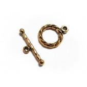 Goldfarbener Knebelverschluss Ringteil 15x11mm Toggle - Schmuckubehör