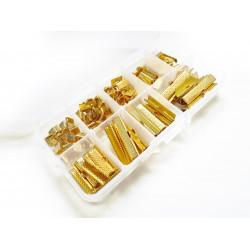 110 gold Bandklemmen 6-35mm in verschiedenen Größen Sortiment in Box - Schmuckzubehör Set