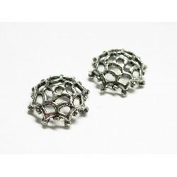 2x große Perlenkappen ca. 13x12x4mm silberfarbene filigrane Perlen Kappen - Schmuckzubehör Perlenkappe