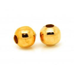 10x glatte Metallperlen 3mm goldfarben Mini Kugel Spacer - Schmuckzubehör Metallperlen