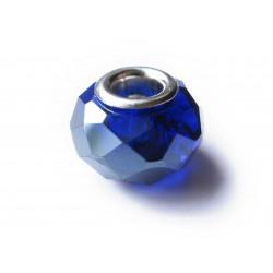 1x blaue European Bead Glasperle ca. 14x10mm geschliffene blaue Großlochperle - European Schmuckzubehör