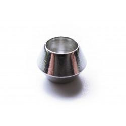 1x silber European Bead Metallperle ca. 9mm Doppelkegel Großlochperle - European Schmuckzubehör
