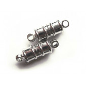 Silber Magnetverschluss Zylinderform in silberfarben 17x5mm