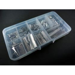 104 silber Bandklemmen 6-40mm in verschiedenen Größen Sortiment in Box - Schmuckzubehör Set