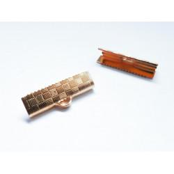 10x rose gold Bandklemme 20mm kariert rose gold - rose gold Schmuckzubehör