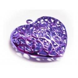 1x lila Herz Anhänger ca. 40x38mm metallic violetter Schmuckanhänger - Schmuckzubehör