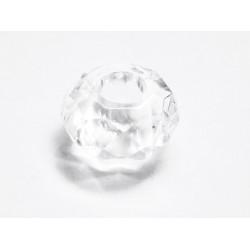 1x transparente European Bead Acrylperle ca. 14x8mm facettierte transparente Großlochperle - European Schmuckzubehör