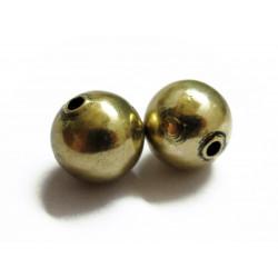 5x vintage gold Metallperlen 10mm goldfarben Metall Spacer - Schmuckzubehör Metallperlen