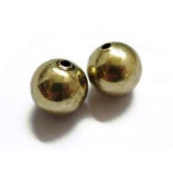 2x vintage gold Metallperlen 12mm goldfarben Metall Spacer - Schmuckzubehör Metallperlen
