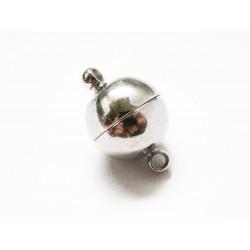 1x großer silber Magnetverschluss 16x10mm kugelförmiger Magnetverschluss - Schmuckzubehör Magnetverschluss