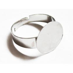 5x Rohling für Fingerring 19mm zum Bekleben silberfarben - Schmuckzubehör für Fingerringe