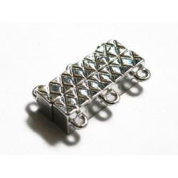 1x silber Magnetverschluss mit 3 Ösen hellsilber platinfarbener Magnetverschluss - Schmuckzubehör Magnetverschluss