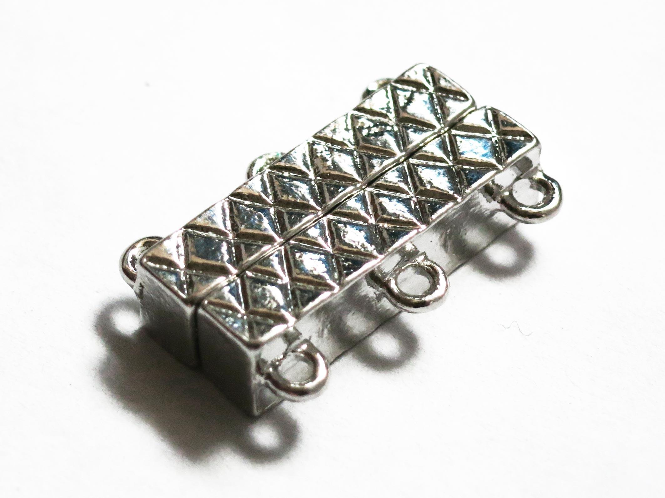 Schmuckzubehör  Hellsilber Magnetverschluss mit 3 Ösen 21x14x5,5mm Schmuckzubehör ...
