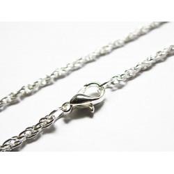 1x geflochtene hellsilber Halskette ca. 72cm x 2mm silber Seilkette mit Karabinerhaken - Schmuckzubehör