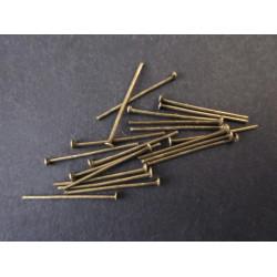 30 bronze Nietstifte 35mm bronzefarbener Schmuckdraht mit Kopf - bronze Schmuckzubehör