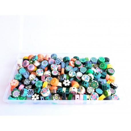 Ca. 200 bunte Polymer Clay Perlen in einer Box im bunten Perlenmix - Polymer Clay Schmuckzubehör