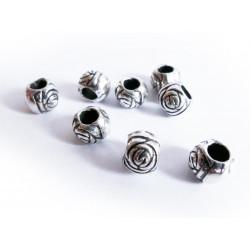 8x silber Acryl Perlen 8mm Rosenform Grosslochperle - Acryl Schmuckzubehör