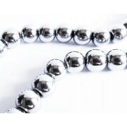 5x silber Hämatitperle 8mm runde glatte Perlen aus Hämatit - Hämatit Schmuckzubehör