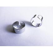 2 Stück / 1 Paar silber Ohr Cuffs ca. 10x5mm silberfarbene Ohrklemmen - Schmuckzubehör zum Ohr Cuffs selbermachen