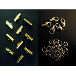 10 gold Bandklemmen 20mm + 5 Karabiner + 10 Biegeringe als Schmuckzubehör Set für Halsbänder - Schmuckzubehör Set