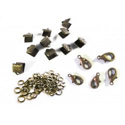10 bronze Bandklemmen 6mm + 5 Karabiner + 20 Biegeringe als Schmuckzubehör Set für Halsbänder - bronze Schmuckzubehör Set