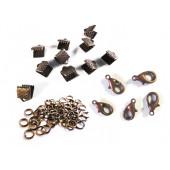 10 kupfer Bandklemmen 6mm + 5 Karabiner + 20 Biegeringe als Schmuckzubehör Set für Halsbänder - kupfer Schmuckzubehör Set