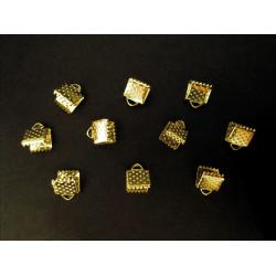 10x gold Bandklemme 6mm goldfarbene Bandklemmen - gold Schmuckzubehör