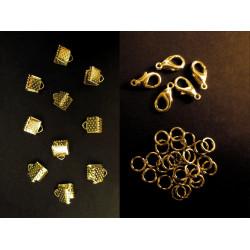 10 gold Bandklemmen 6mm + 5 Karabiner + 20 Biegeringe als Schmuckzubehör Set für Halsbänder - Schmuckzubehör Set