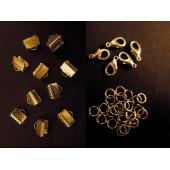 10 gold Bandklemmen 8mm + 5 Karabiner + 20 Biegeringe als Schmuckzubehör Set für Halsbänder - Schmuckzubehör Set