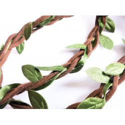 1m braun grünes geflochtenes Band Endbreite ca. 6mm in Wildlederoptik mit Blättern - Schmuckzubehör Schmuckband