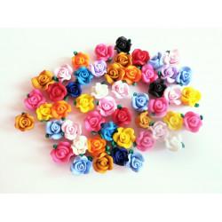 20x bunte Rosen Perlen 13x10mm aus Polymer Clay im bunten Fimoton Perlenmix - Polymer Clay Schmuckzubehör