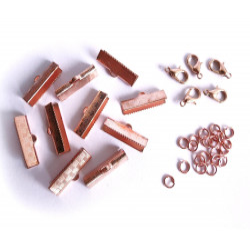 10 rosegold Bandklemmen 20mm + 5 Karabiner + 20 Biegeringe als rose gold Schmuckzubehör Set für Halsbänder - Schmuckzubehör Set