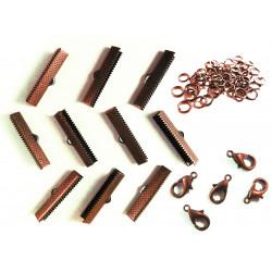10 kupfer Bandklemmen 25mm + 5 Karabiner + 20 Biegeringe als Schmuckzubehör Set für Halsbänder - kupfer Schmuckzubehör Set