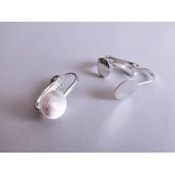 1 Paar versilberte Ohrclips zum Bekleben 19x18mm hellsilberfarbene Ohrklemme - Schmuckzubehör zum Ohrclips selbermachen